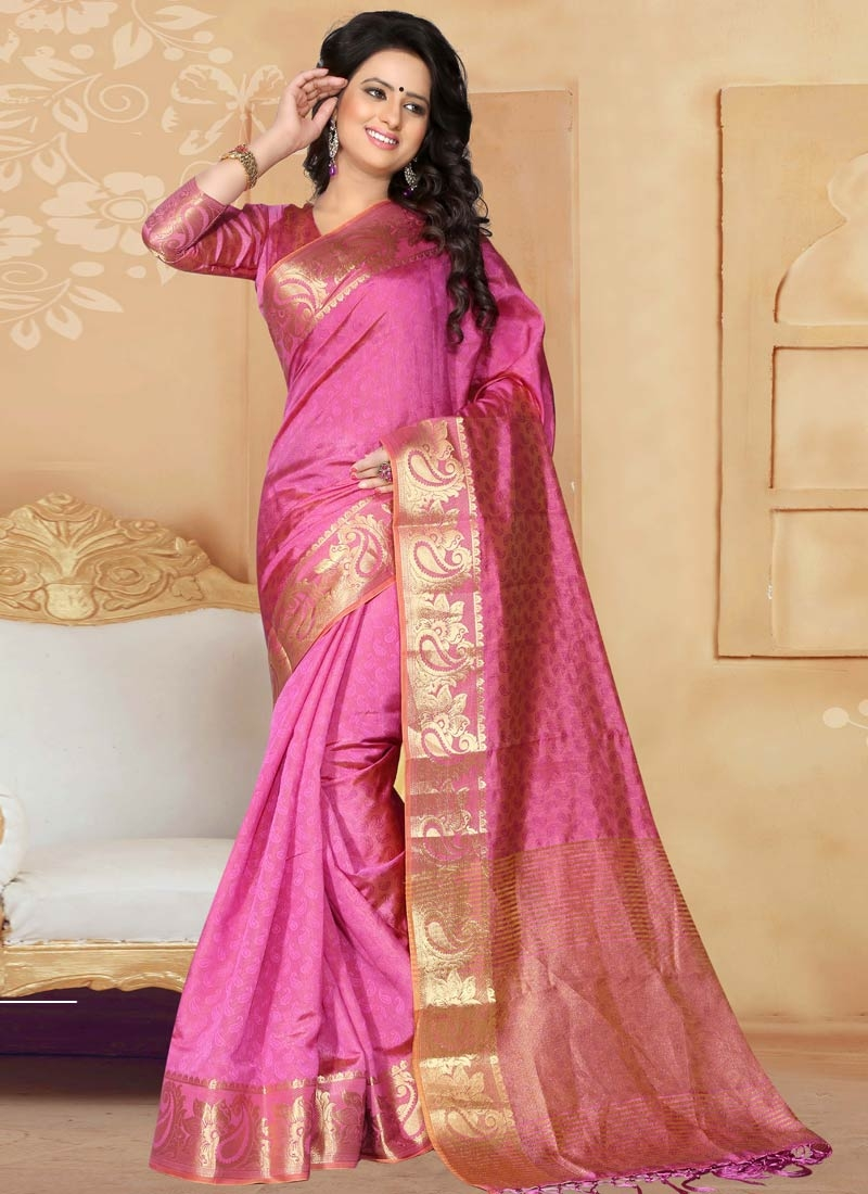 Integral Hot Pink Color Resham Work Casual Saree