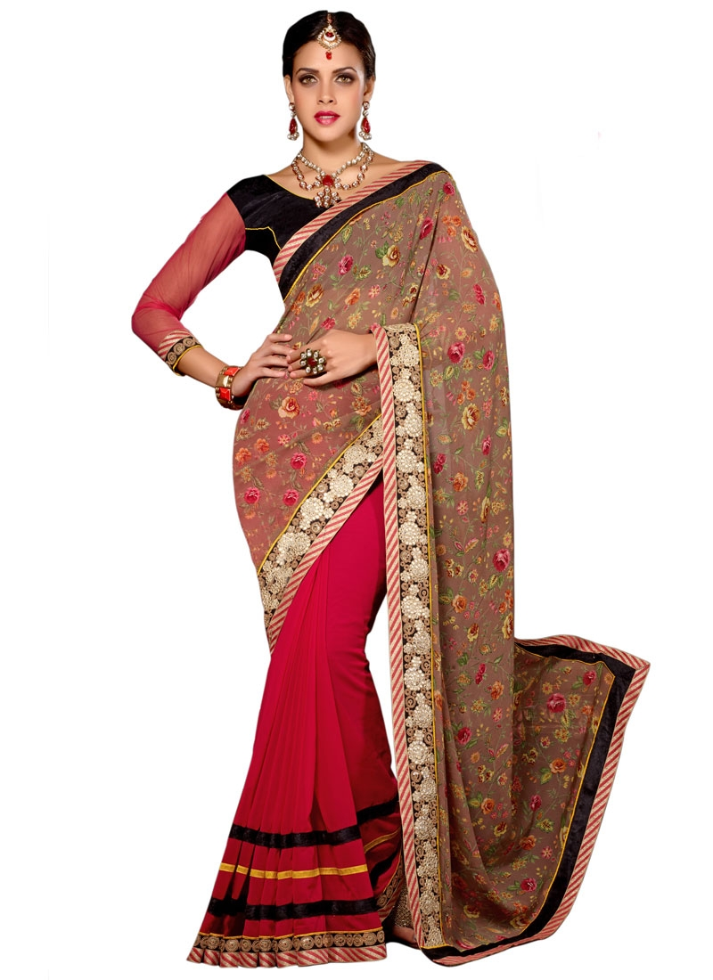 Integral Lace Work Half N Half Party Wear Saree