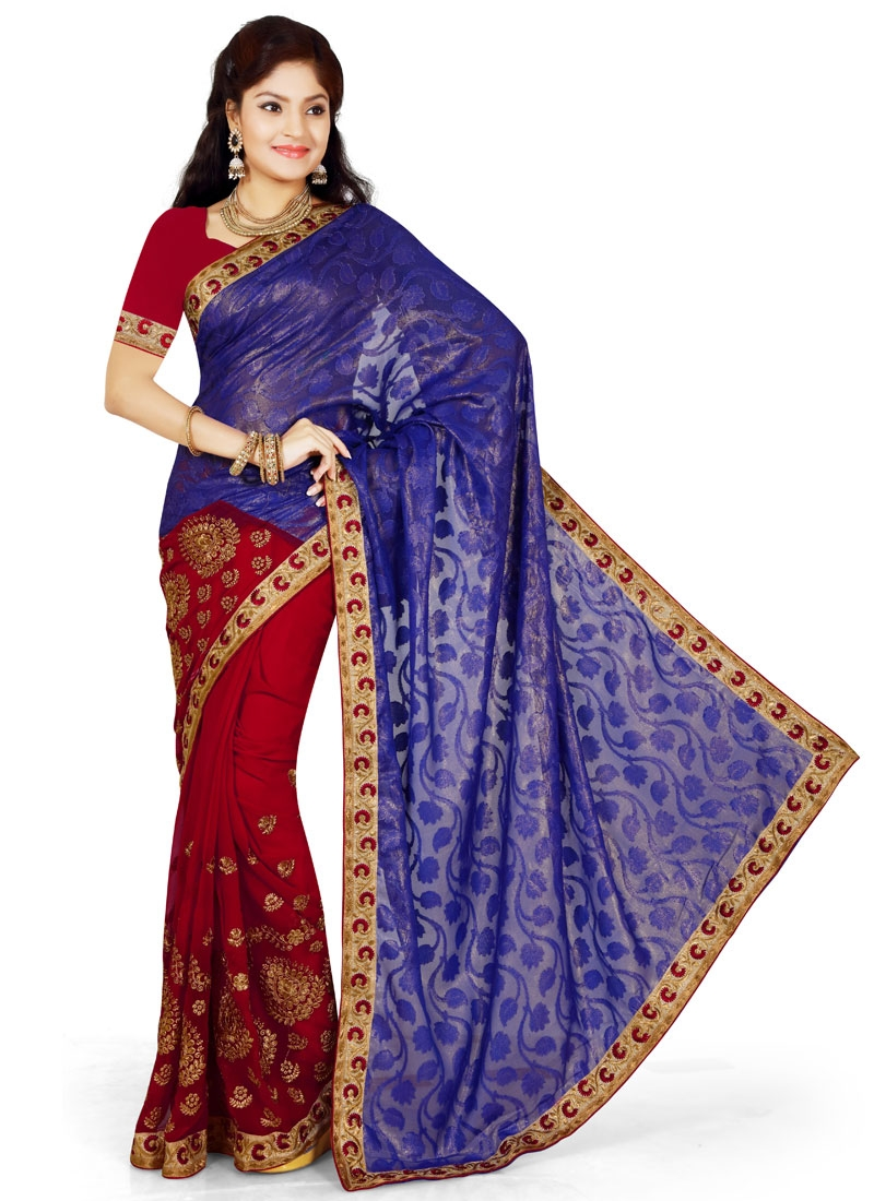 Integral Navy Blue Color Half N Half Party Wear Saree