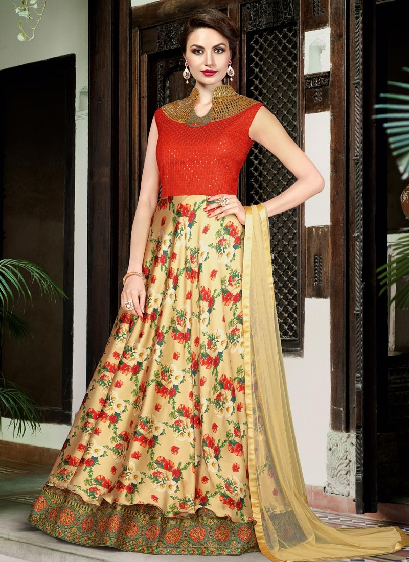 Integral Print Work Cream and Red Satin Long Length Salwar Kameez For Party