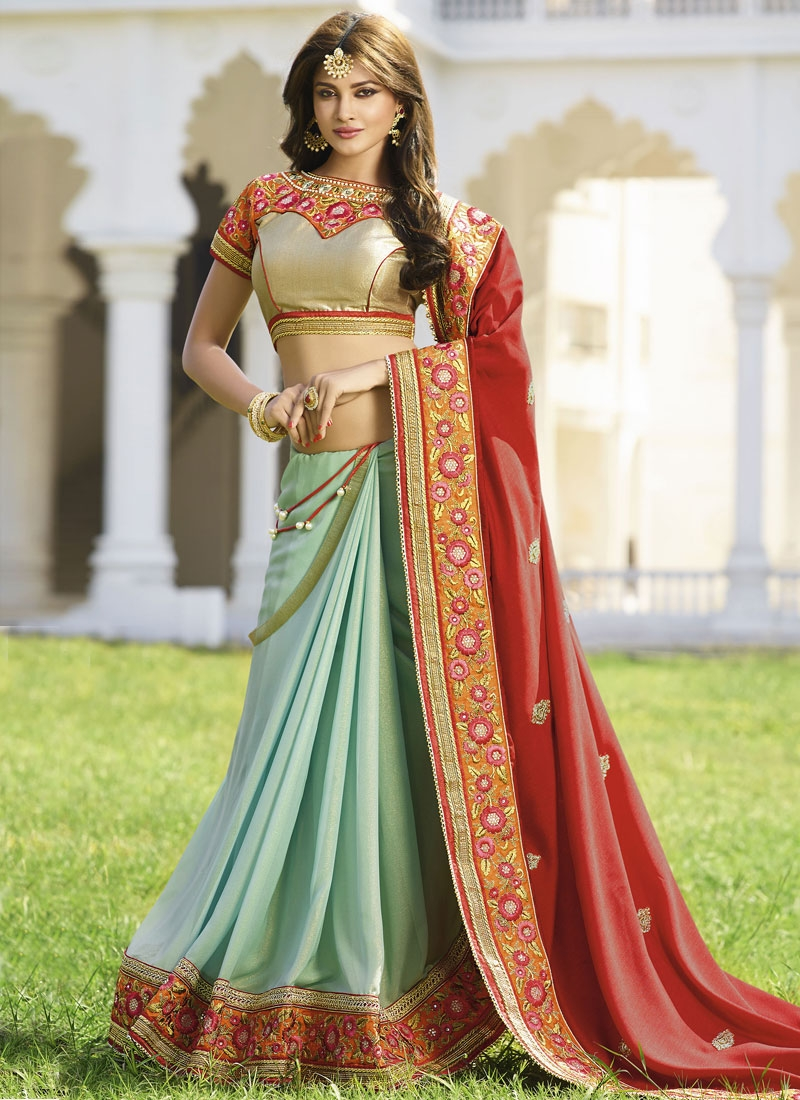 Integral Pure Georgette Lace Work Half N Half Designer Saree
