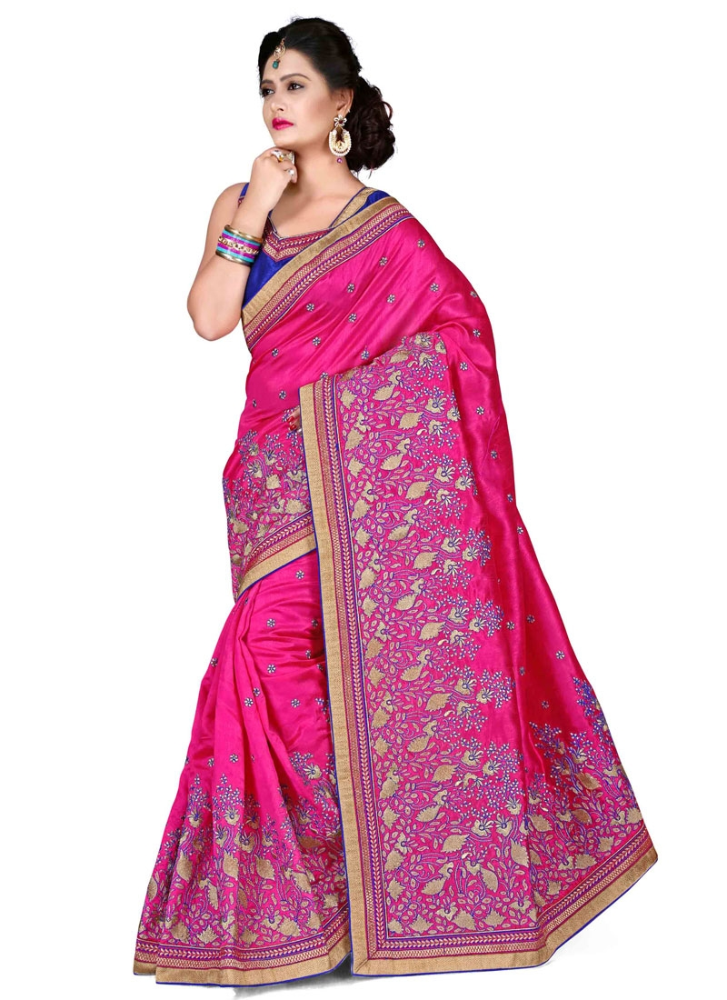 Integral Stone Work Silk Wedding Saree