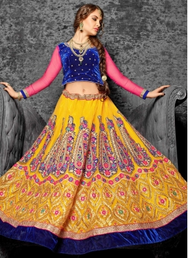 Integral Velvet Patch Work Wedding Lehenga Choli