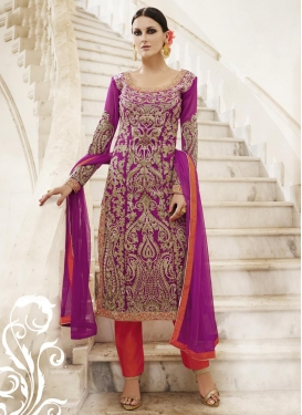 Intricate Booti Work Faux Georgette Magenta and Orange Pant Style Straight Salwar Kameez