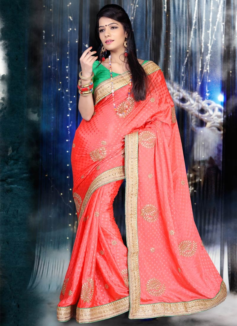 Intricate Chiffon Satin Lace Work Party Wear Saree