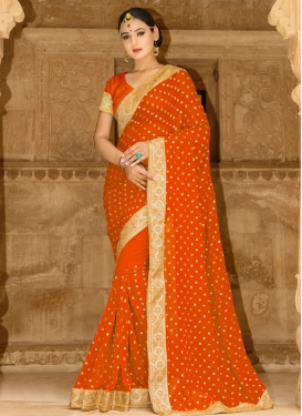 Intricate Faux Georgette Beads Work Trendy Classic Saree