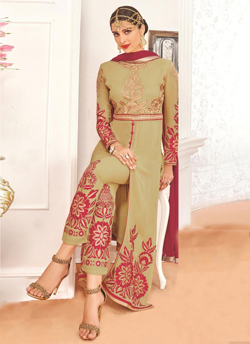 Intricate Faux Georgette Booti Work Pant Style Party Wear Suit