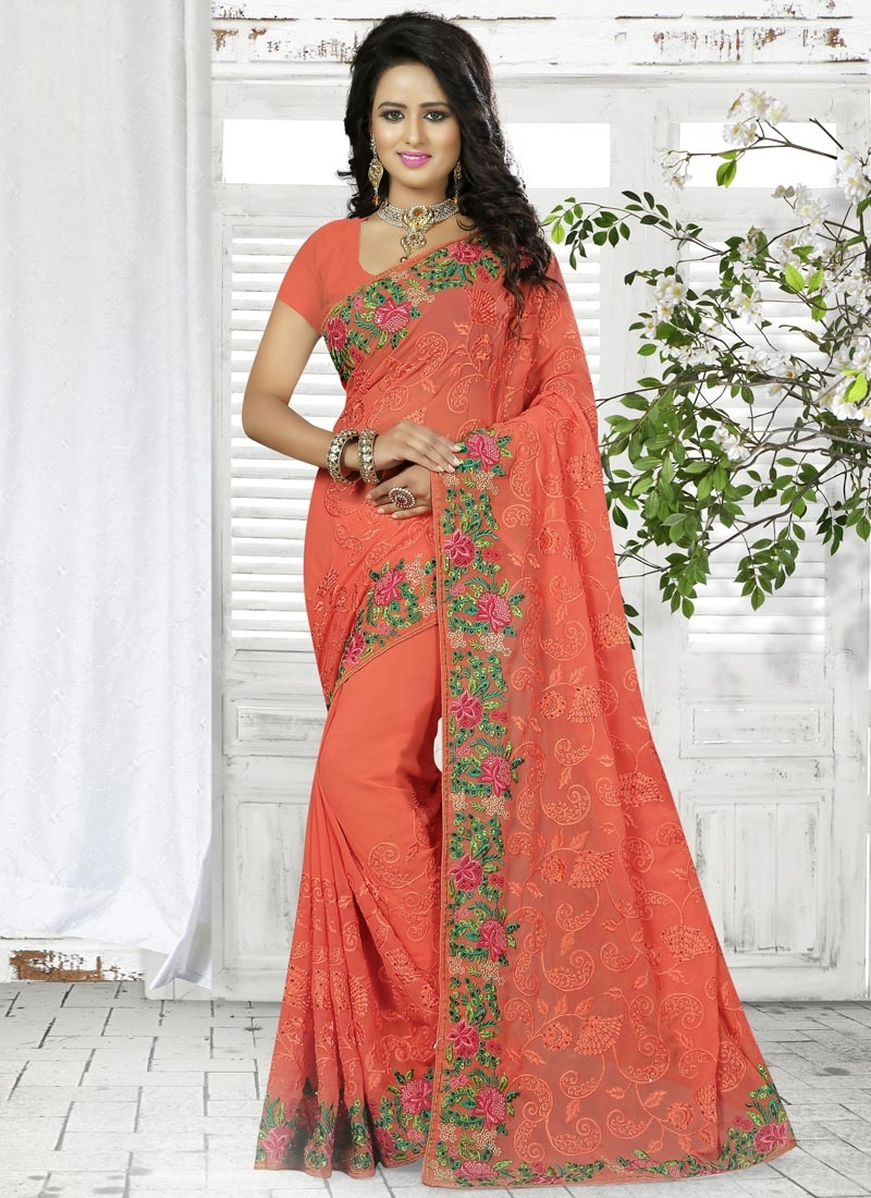 Intricate Faux Georgette Embroidered Work Contemporary Style Saree