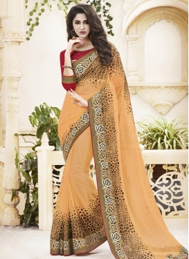 Intricate Polka Dotted Net Designer Saree