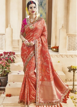 Intricate Satin Silk Block Print Work Contemporary Saree
