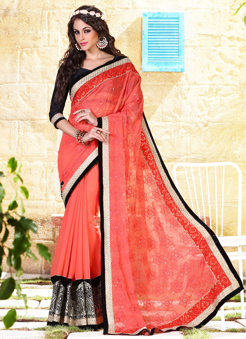 Intricate Sequins Work Party Wear Saree