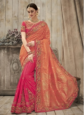 Intricate  Silk Beads Work Half N Half Saree
