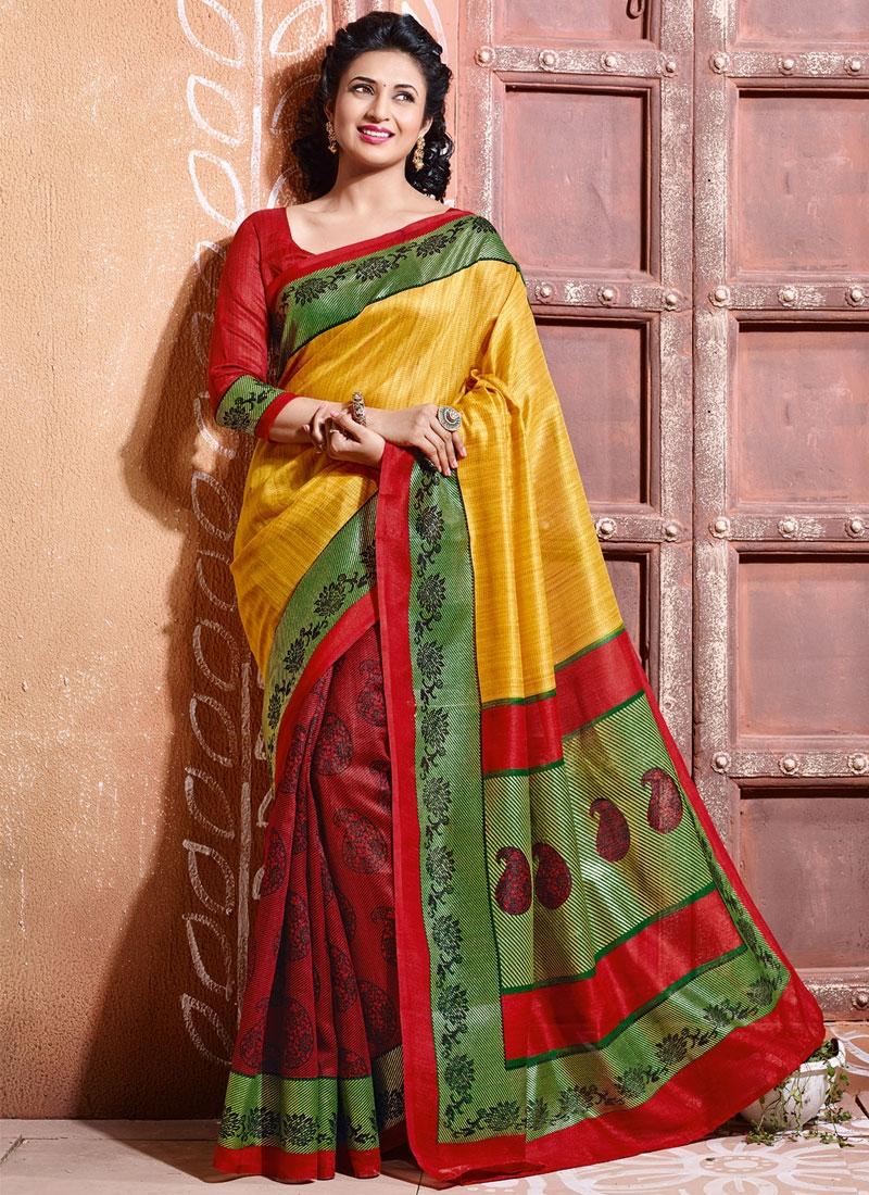 Intriguing Art Silk Divyanka Tripathi Half N Half Casual Saree