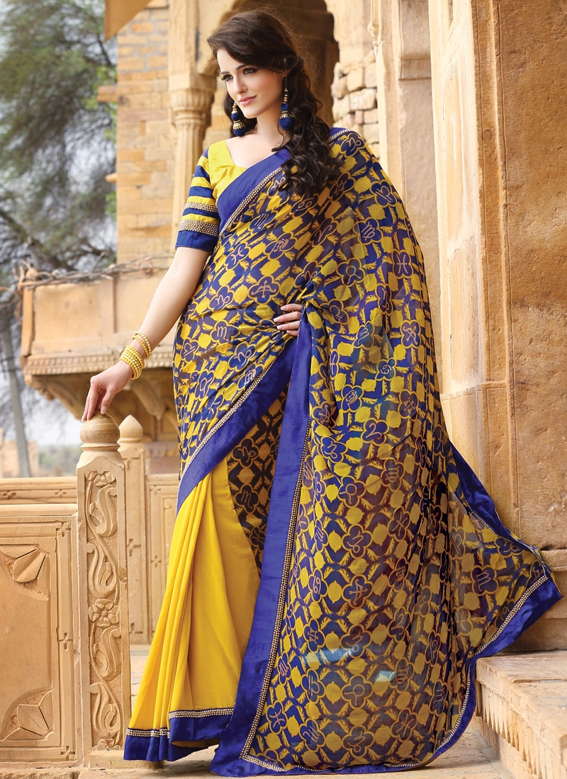Intriguing Beads Enhanced Half N Half Saree