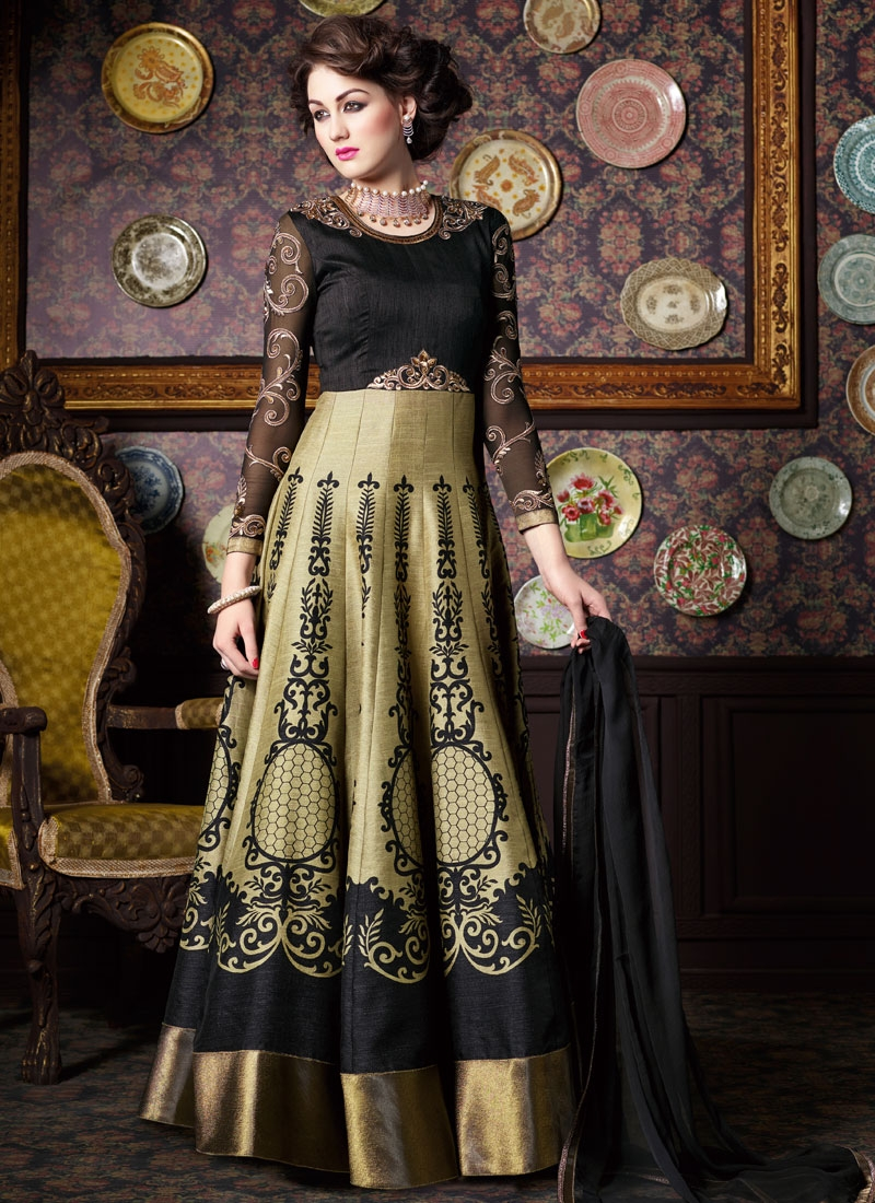 Intriguing Beige Color Art Silk Long Length Anarkali Salwar Kameez