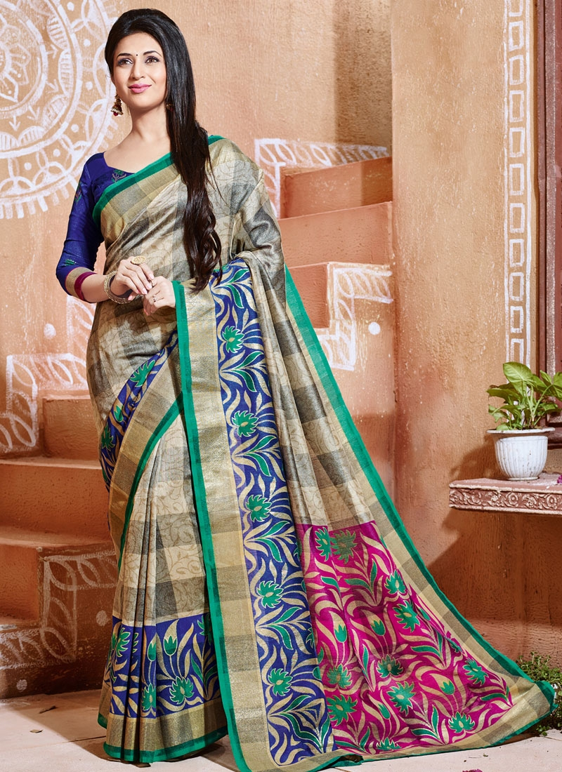 Intriguing Beige Color Divyanka Tripathi Casual Saree