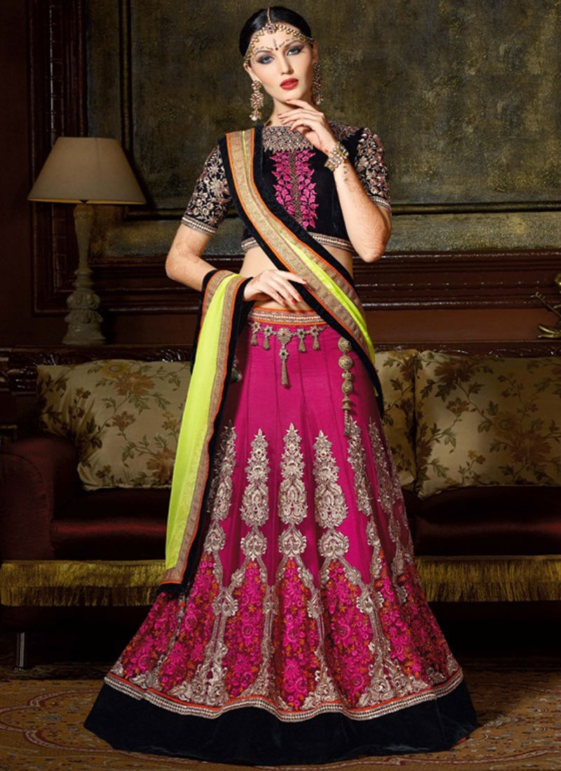 Intriguing Booti And Velvet Patch Work Designer Lehenga Choli