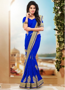 Intriguing Booti Work Blue Color Designer Saree
