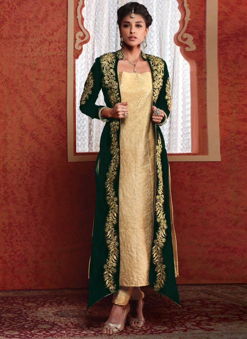 Intriguing Bottle Green And Cream Color Jacket Style Designer Suit