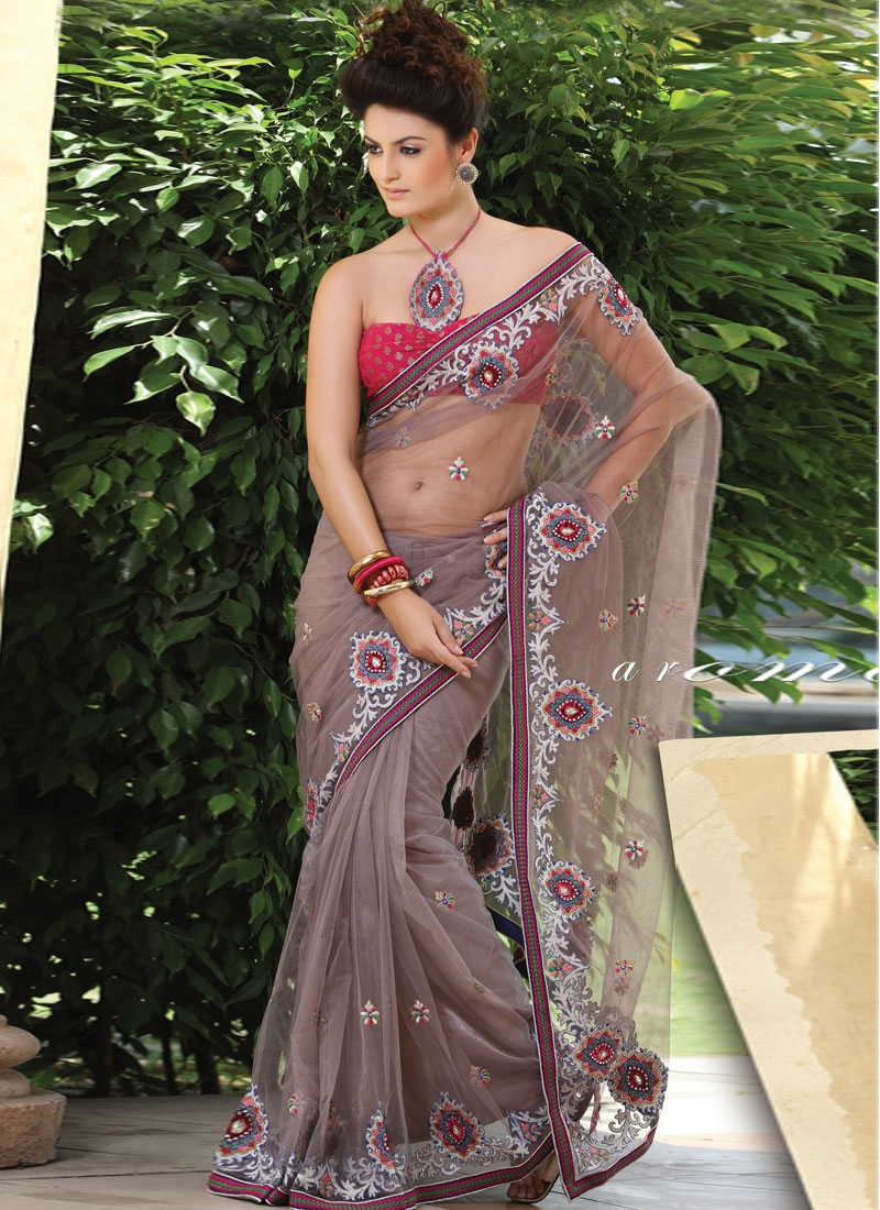 Intriguing Brown Embroidered Net Saree