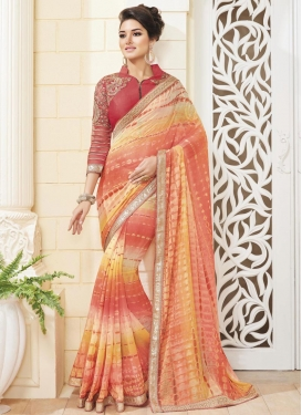 Intriguing Crimson and Orange Designer Saree