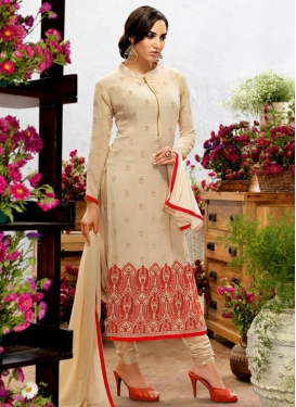 Intriguing Embroidered Work Faux Georgette Straight Pakistani Salwar Kameez For Ceremonial