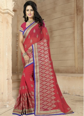 Intriguing Faux Georgette Contemporary Saree For Ceremonial