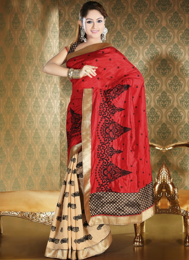 Intriguing Kasab Enhanced Half N Half Saree