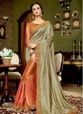 Intriguing Lace Work Grey and Orange  Half N Half Trendy Saree