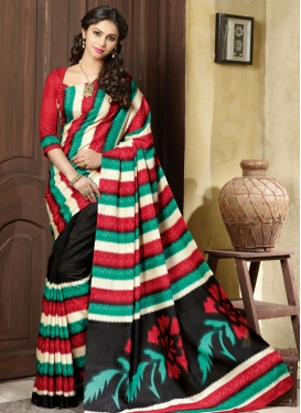 Intriguing Printed Black Color Casual Saree