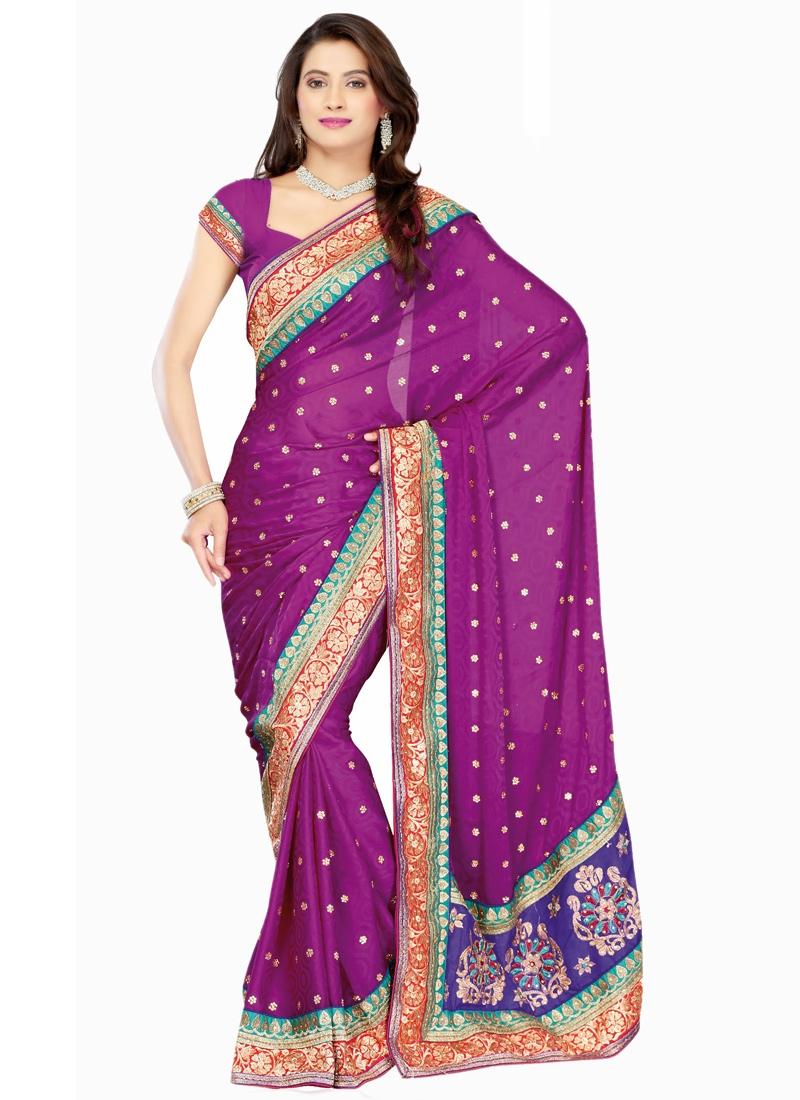 Intriguing Purple Color Party Wear Saree