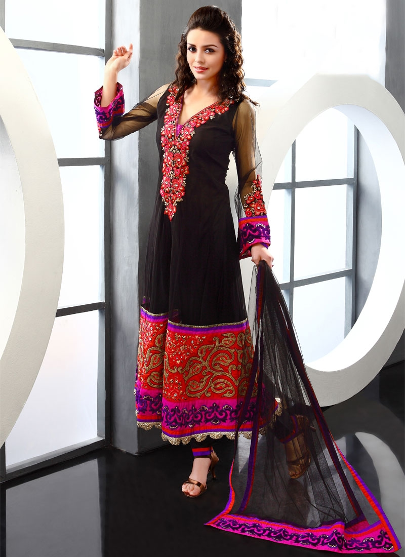b0dfe939f2 Intriguing Red And Black Net Readymade Salwar Kameez