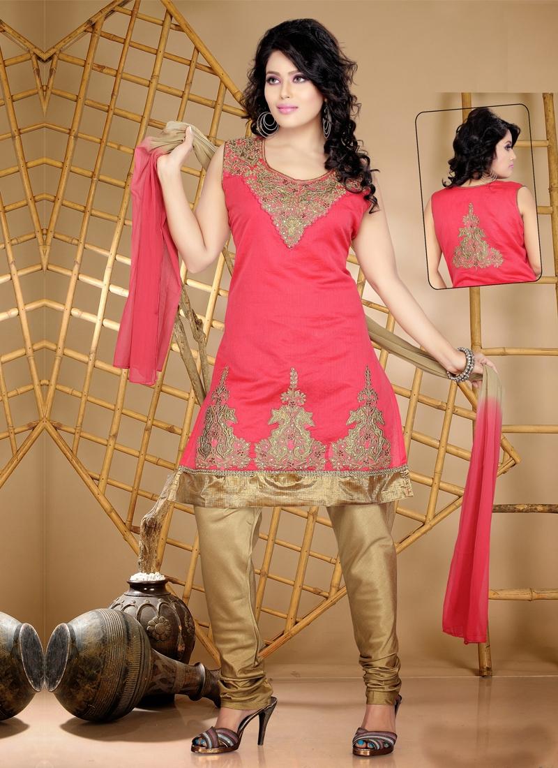 Intriguing Resham Work Readymade Churidar Suit