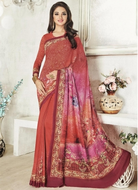 Intriguing Rose Pink and Rust Digital Print Work Traditional Saree