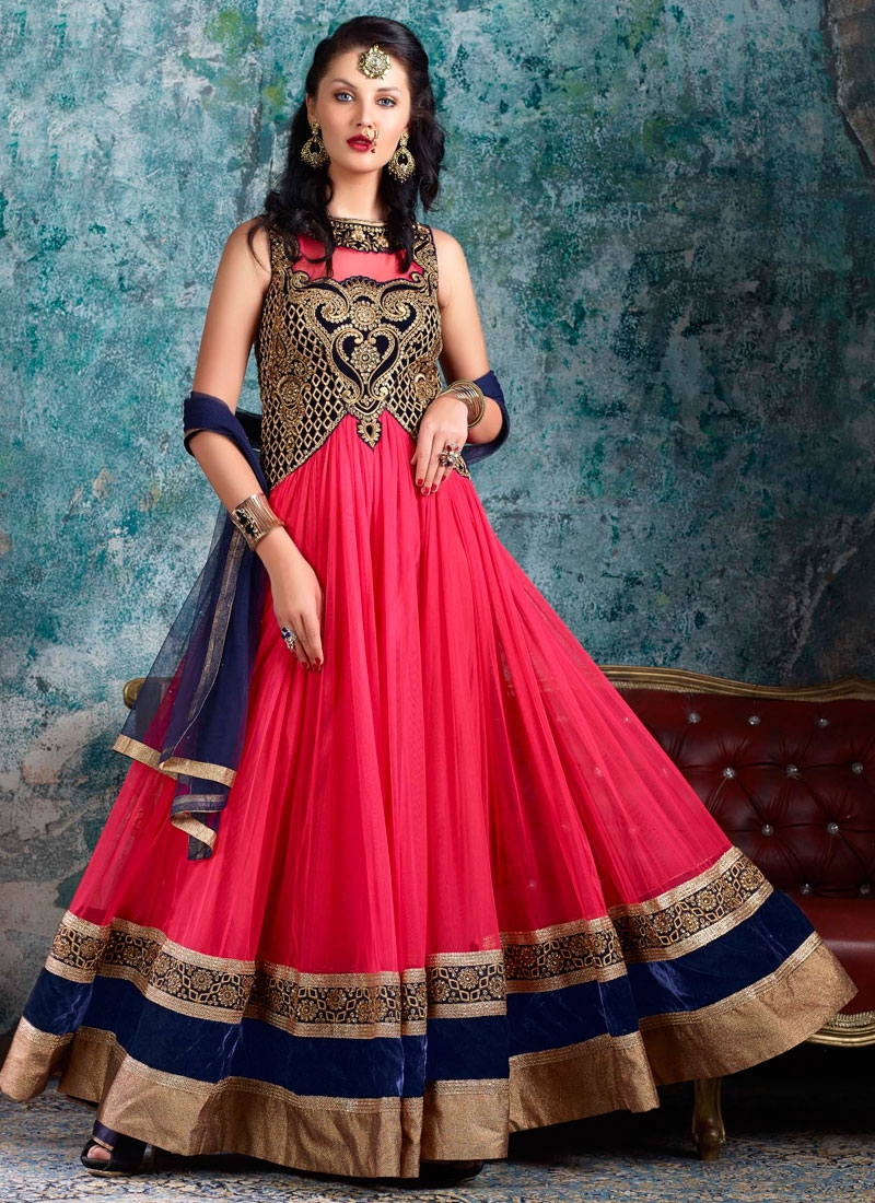 Intriguing Velvet And Net Floor Length Designer Salwar Kameez