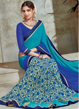 Intrinsic  Aqua Blue and Navy Blue Brasso Georgette Abstract Print Work Designer Half N Half Saree