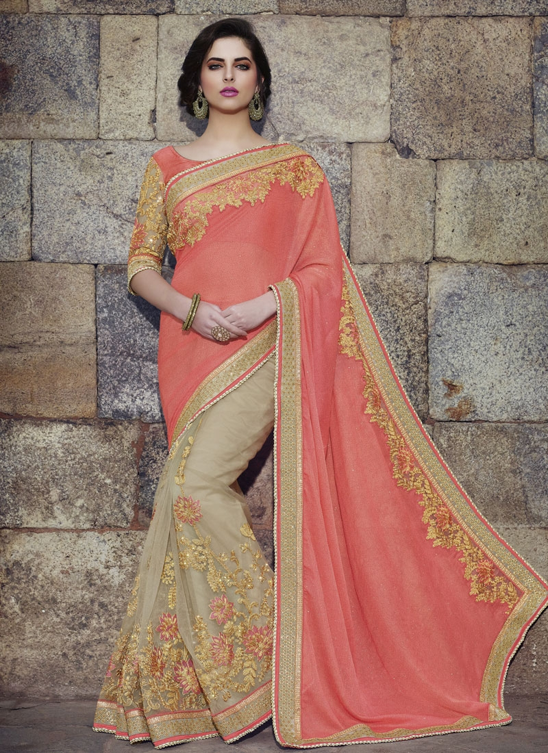 Intrinsic Beads And Embroidery Work Half N Half Wedding Saree
