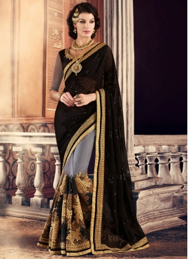 Intrinsic Black Embroidered Work Half N Half Designer Saree