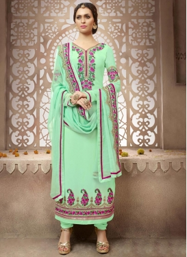 Intrinsic Booti Work Faux Georgette Straight Pakistani Salwar Kameez For Ceremonial