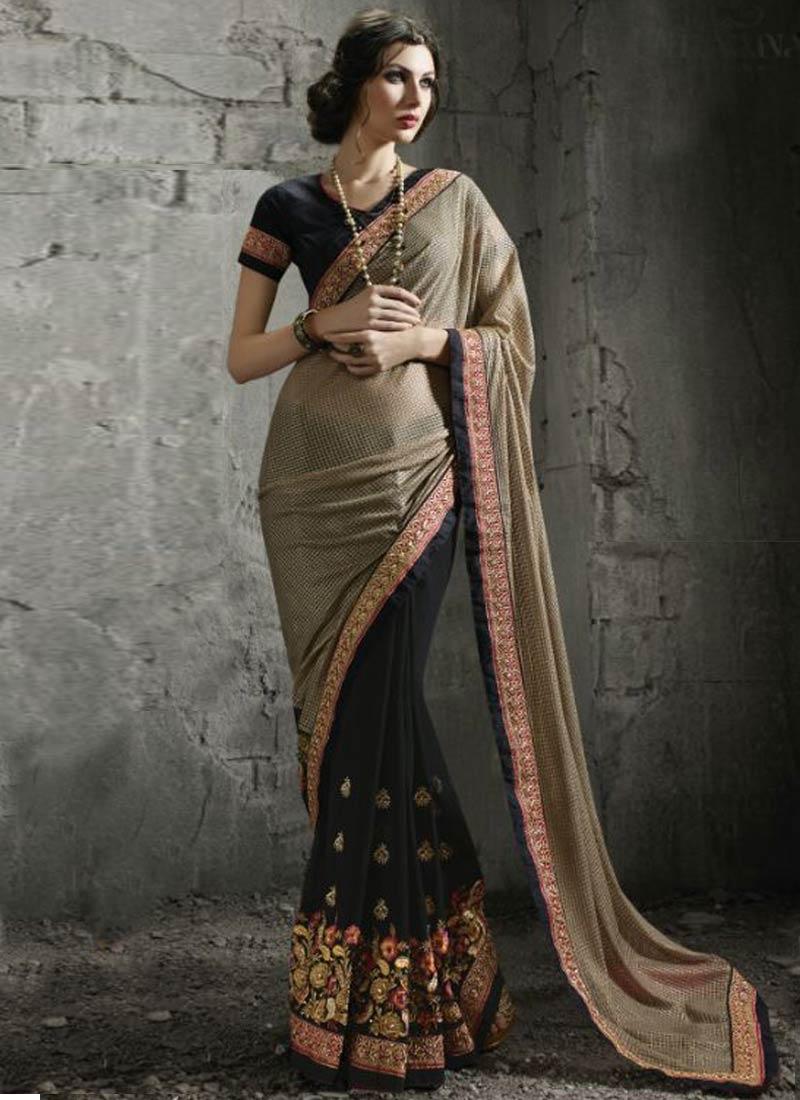 Intrinsic Floral Work Half N Half Designer Saree