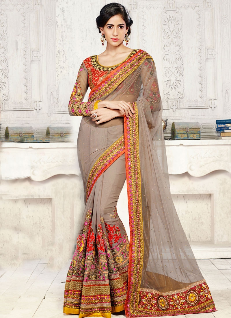 Intrinsic Resham And Booti Work Wedding Saree