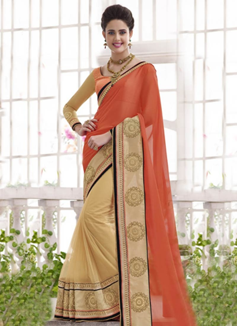 Intrinsic Stone And Patch Border Work Half N Half Designer Saree
