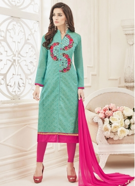 Invaluable Aqua Blue and Rose Pink Chanderi Silk Churidar Salwar Kameez