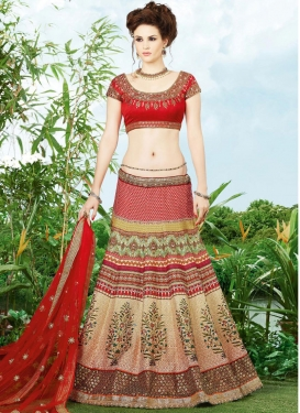 Invaluable Banglori Silk Beige Digital Print Work A Line Lehenga Choli