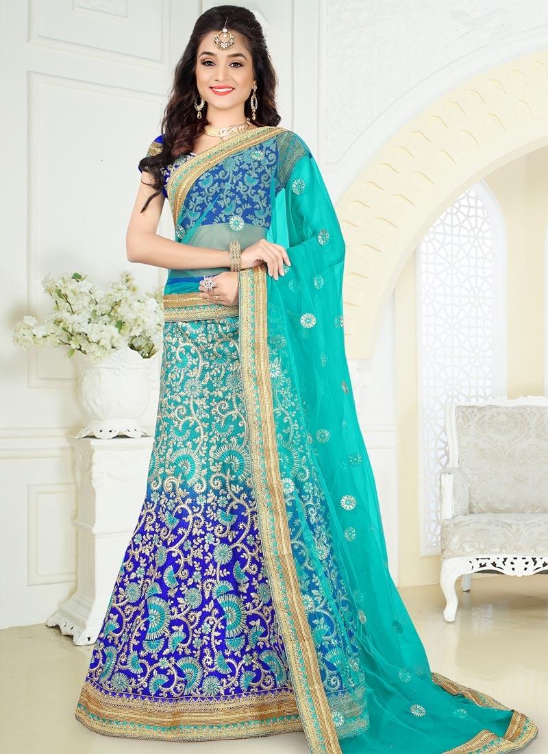 Invaluable Beads Work Art Silk Aqua Blue and Blue A Line Lehenga Choli