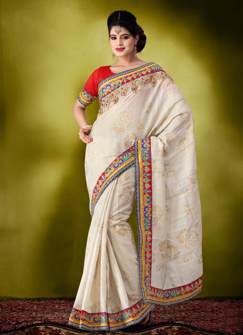 Invaluable Beige And Cream Color Party Wear Saree