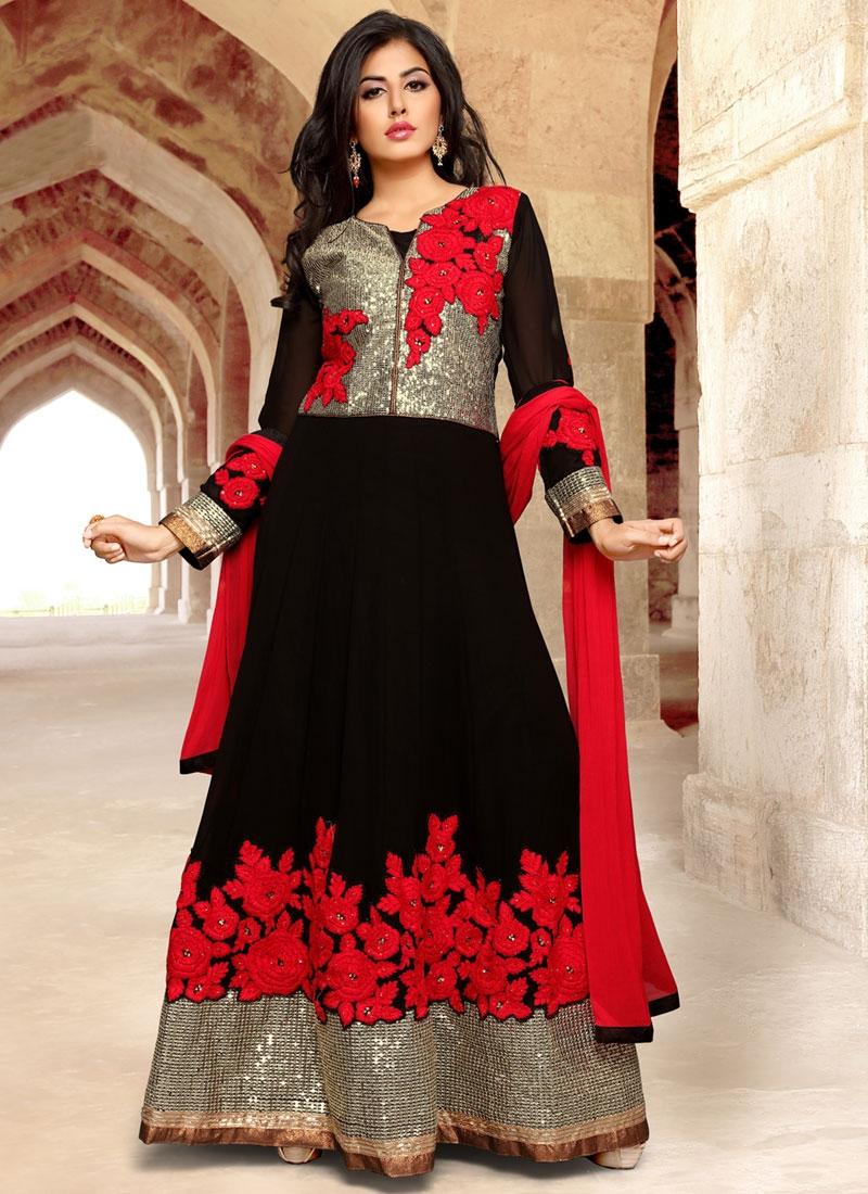 Invaluable Black Color Stone Work Long Length Designer Suit