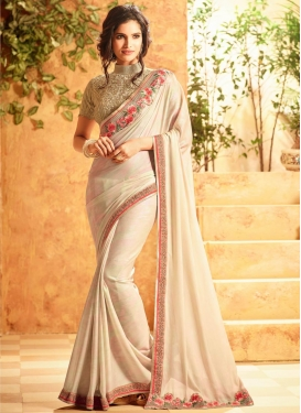 Invaluable  Embroidered Work Trendy Saree For Ceremonial