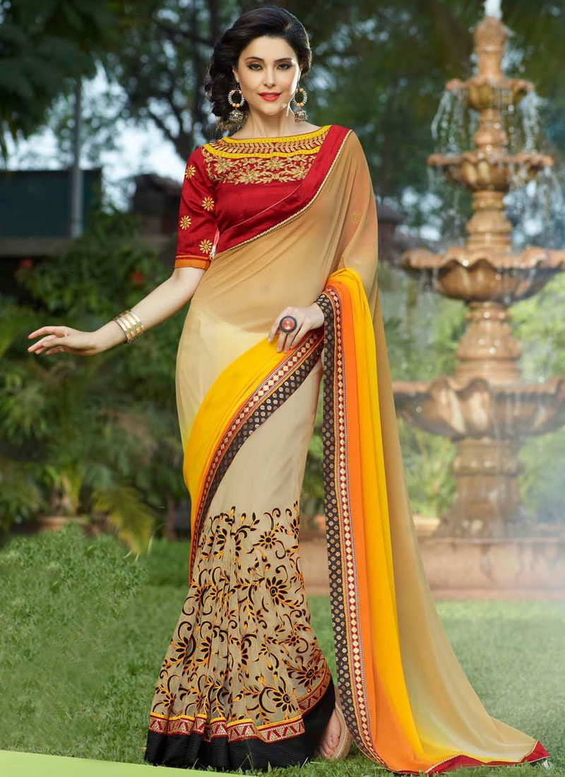 Invaluable Faux Chiffon Half N Half Party Wear Saree