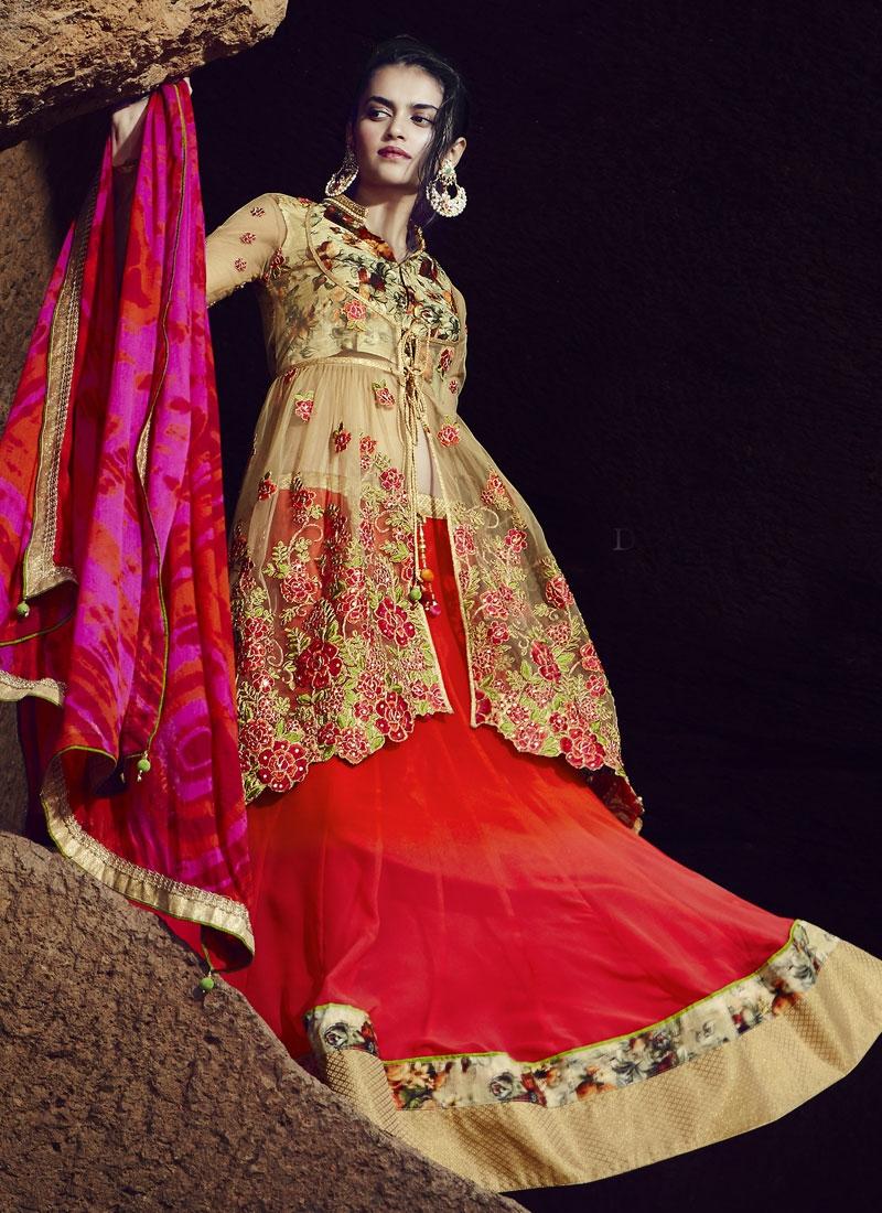 Invaluable Floral Work Jacket Style Designer Lehenga Choli